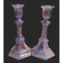 Tall Hexagon Upcycled Candlesticks -Blue