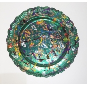 "11"" Green Chrome Base Serving Tray"