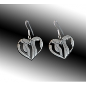 "Heart shape Dangle Earrings with Hebrew Text ""Strength"""