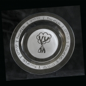 10.5 inch etched glass Tree of life plate