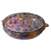 Painted Serving Bowl with Tiny Flower Handles