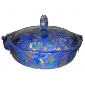 Handpainted 1950's hammered  aluminium bowl with lid