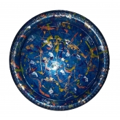 "12"" Blue Chrome Base Serving Tray"