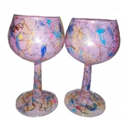 "Hand Painted Light Pink 4"" Goblets"