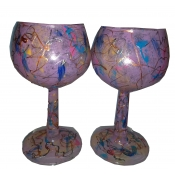 "Hand Painted PairedPink 4"" Goblets"